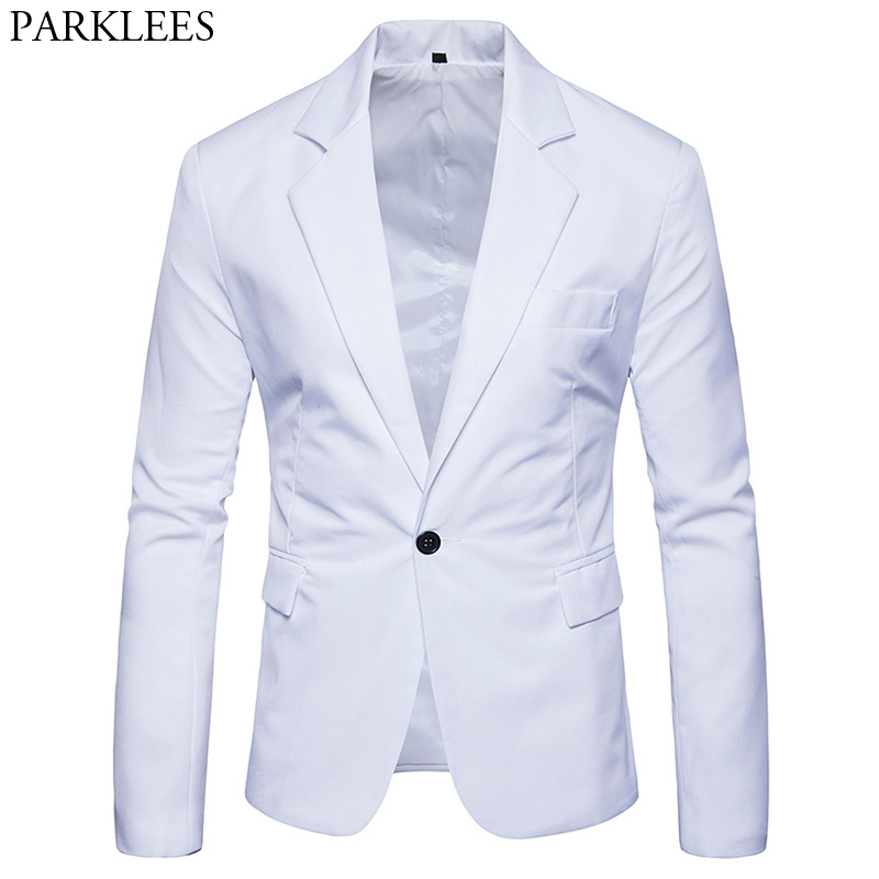 Men's Slim Fit White Suit Jacket Brand One Button Notched Lapel Suit Blazer Male Party Wedding Business Casual Costume Homme 2XL 1