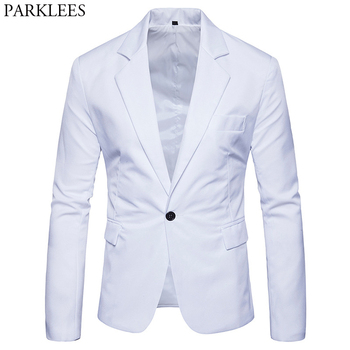 Men One Button Notched Lapel Blazer