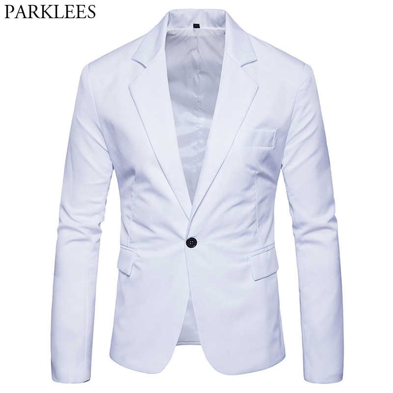 Mannen Slim Fit Wit Jasje Merk One Button Notched Revers Pak Blazer Mannelijke Party Bruiloft Business Casual Kostuum homme 2XL