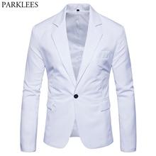 男性のスリムフィット白スーツのジャケットのボタンノッチラペルスーツブレザー男性パーティー結婚式ビジネスカジュアル衣装オム 2XL