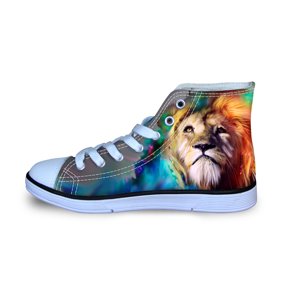 Size 29-34 Men Canvas Shoes Fashion Lightweight Tumblr Lion Flats Boys Sneakers for School Students Teenager Vulcanize Loafers