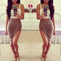 New Sexy Wrap Banded Waist Draped Package Hip Cut Out Asymmetrical Skirt Hi Low Maxi Skirts 4Colors 10