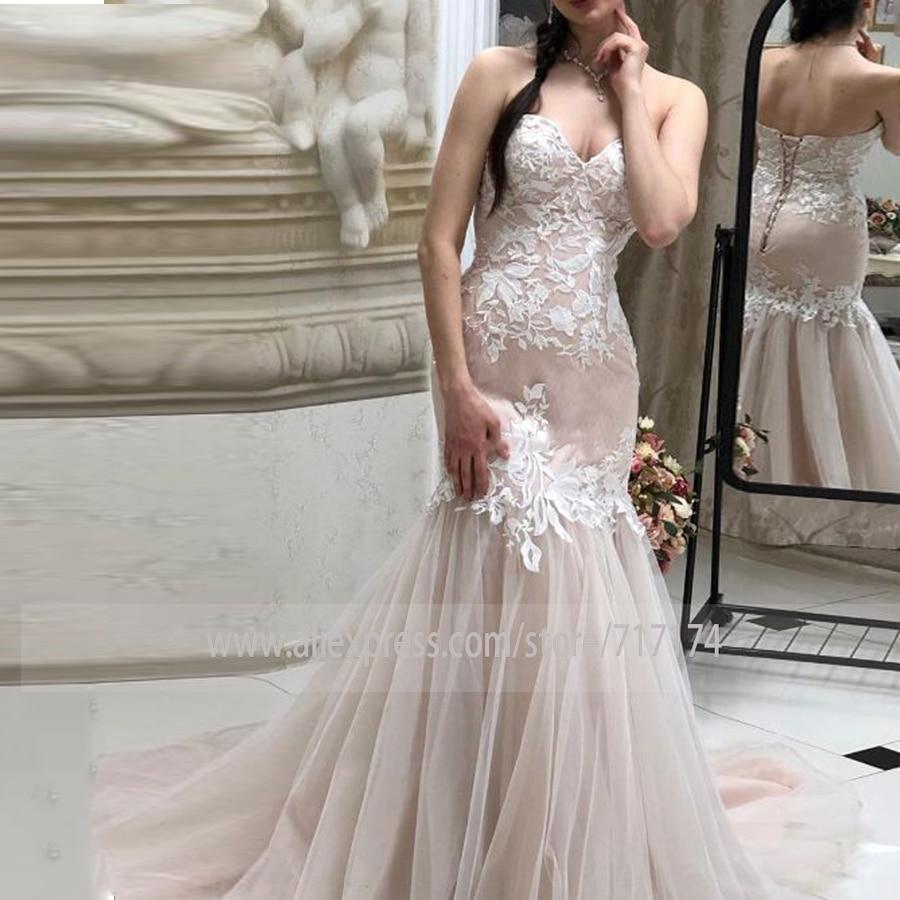 Stylish Mermaid Sweetheart Lace-up Blush Tulle Long Wedding Dress With Appliques Bridal Party Dress Veatido De Novia