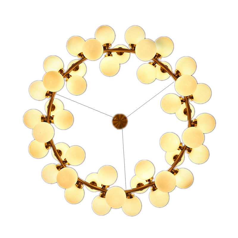 Nordic creative circle Dia.95cm led chandelier light Round Bubble 45pcs glass lampshade villa G4 LED lamp 3W AC220V free ship 45 head nordic creative circle dia 95cm led chandelier light round bubble glass lampshade villa g4 lamp 3w ac220v free shipping