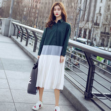 New Women's Shirt Dress Spring and Summer 2019 Fashion Vintage Stand Collar Contrast Color Loose A-Line Long Pleated Dress contrast collar and cuff grid dress