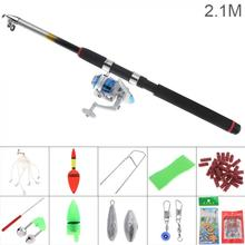 2.1m Fishing Rod  Full Kits 3000 Series Spinning Reel Pole Set with Carp Lures Float Hooks Beads Bell Lead Weight Etc