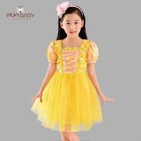 2017 Princess Belle Dress For Girls Party Costume Criss Cross Decoration Snow White Cinderella Formal Dress
