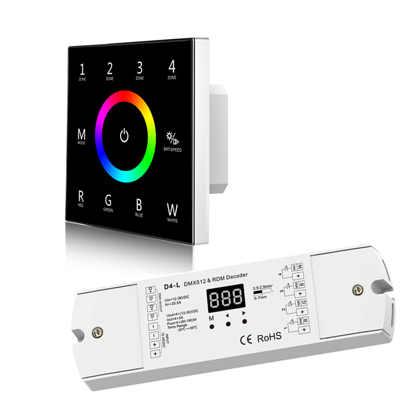 New T14 Wall Mount Touch Panel DMX master and DMX CV decoder 100V-240V 4 Zone 2.4GHz RF Wireless + DMX Led rgbw strip ControllerNew T14 Wall Mount Touch Panel DMX master and DMX CV decoder 100V-240V 4 Zone 2.4GHz RF Wireless + DMX Led rgbw strip Controller