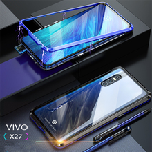 Metal Case For VIVO X27 Aluminum Magnetic Bumper for vivo x27 x 27 Transparent Glass Back Cover Phone Cases