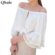 Qbale white t-shirts women t shirts 2017 Summer Tops Ladies Tassel Fringed Flare Sleeve Lace-up off the shoulder tops for women
