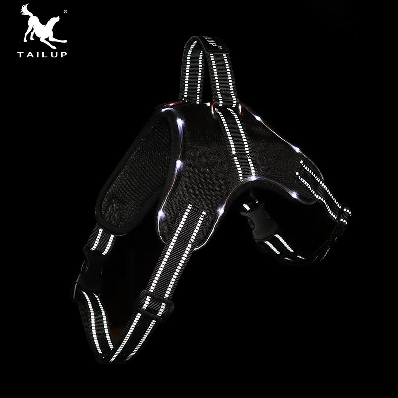 TAILUP LED Lamp Waterproof No Pull Dog Harness 1000D Oxford Vest Reflective Dogs Collars and Harnesses Pet Supplies