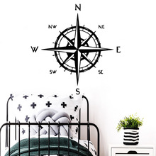 Drop Shipping compass Vinyl Waterproof Wall Decal for Living Room Kids Decoration Art Decals