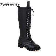 Kebeiority женские мотоциклетные ботинки сапоги до колена на шнуровке для женская обувь на платформе на не сужающемся книзу массивном каблуке черные кожаные армейские ботинки женские