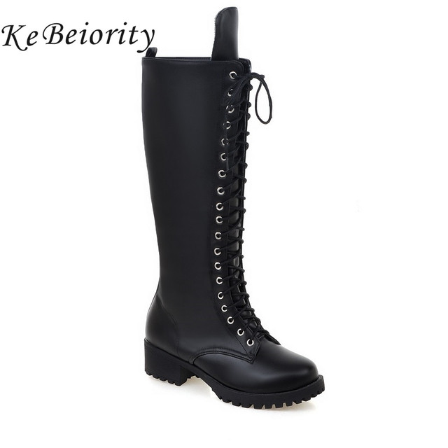 KEBEIORITY Women Motorcycle Boots Lace Up Knee High Boots for Women Platform Shoes Chunky Heel Leather Black Army Boots Female
