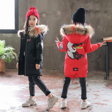 цена на 2019 Fashion Children Clothes Winter Jacket Girl Clothing Kids Warm Thick Parka Multicolour Fur Collar Hooded Coat Teenage 3-13Y