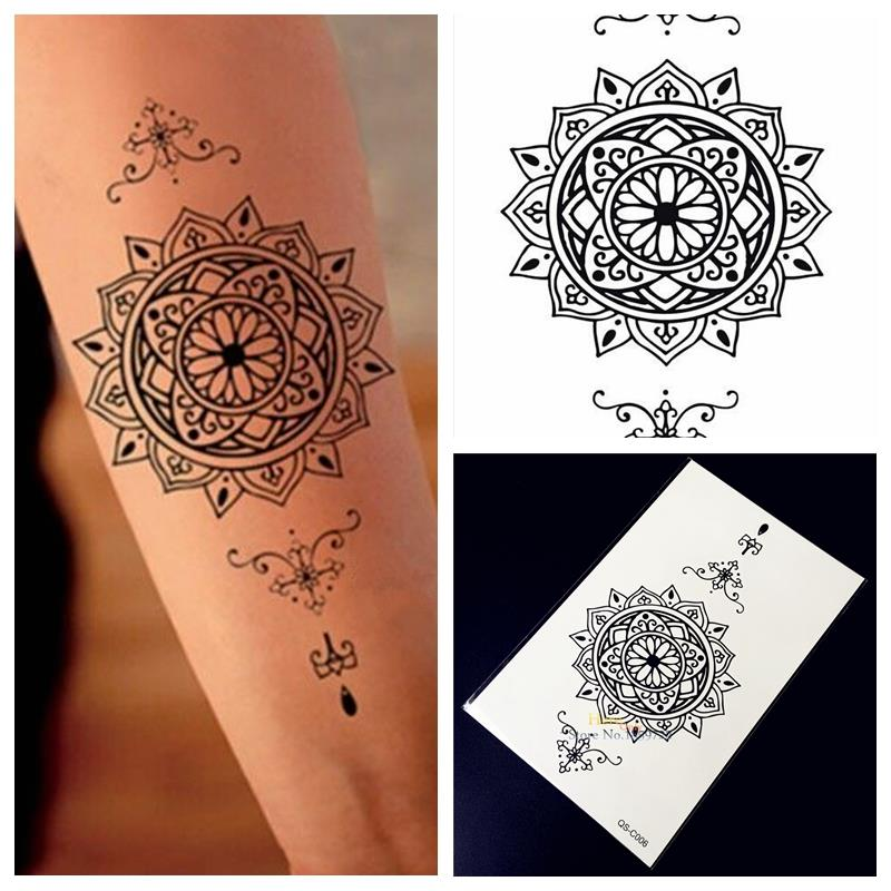 Buy 1pc indian sunflower totem black for Sunflower temporary tattoo