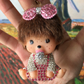 Cute Doll Monchichi Keychain sleutelhanger Rhinestone Keyring Girl Monchichi Key Chain Women Bag Accessories llaveros PWK0490