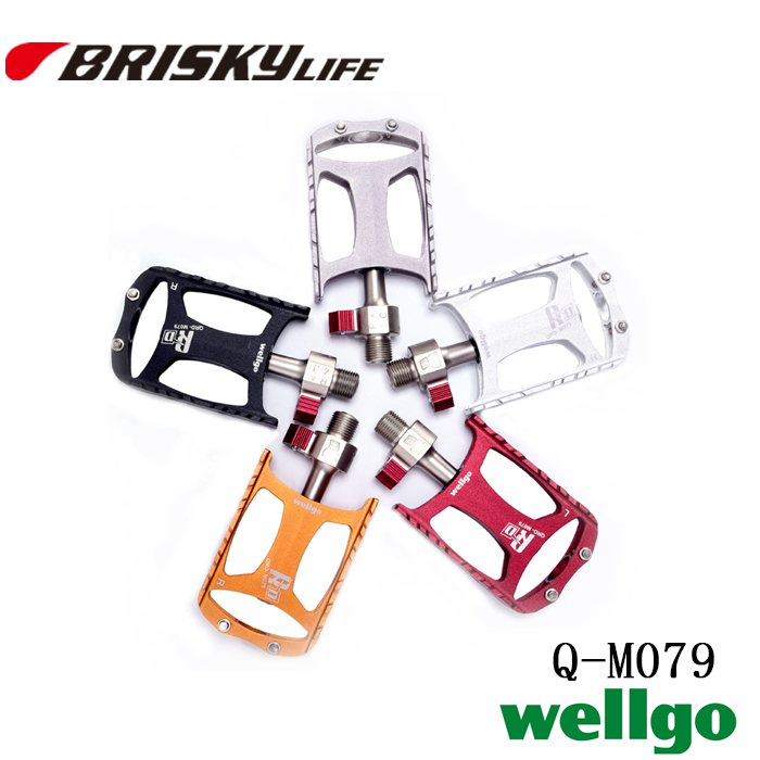 Free shipping high quality Wellgo quick release mountain bike alloy pedals QRD-M079 rockbros titanium ti pedal spindle axle quick release for brompton folding bike bicycle bike parts