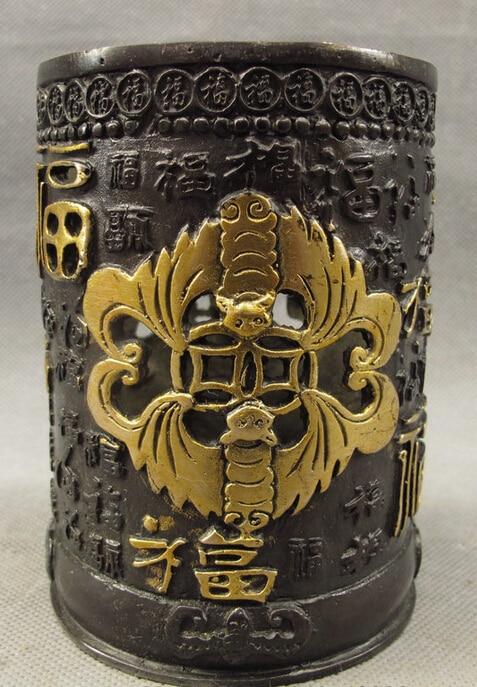 S3423 Folk Chinese Bronze Gilt Old HanZi Fu BAT Statue Brush Pot Barrel Pencil Vase D0317