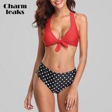 цена на Charmleaks Women Bikini Halter Swimwear Retro Polka Dot Swimsuit Tied Bathing Suit Beachwear Floral Print Sexy Bikini