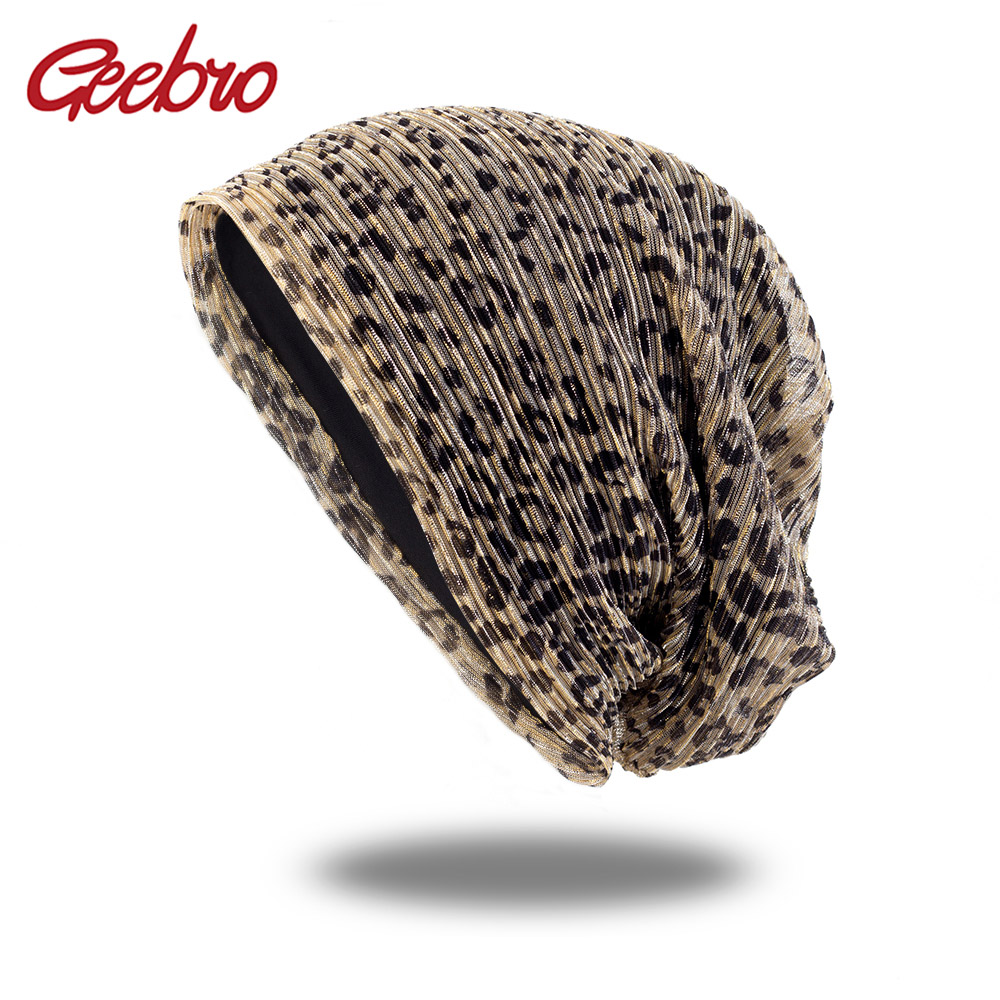 Geebro New Hip Hop Women Fashion Leopard Print Bonnet For Female Girls Sequins Skullies Bonnets Beanies Turban Wraps Women Caps