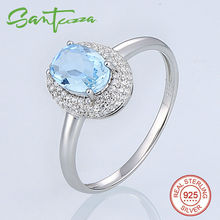 Silver Rings for Women Engagement Wedding Ring Oval Sky Blue White Cubic Zirconia Rings Pure 925 Sterling Silver Fashion Jewelry