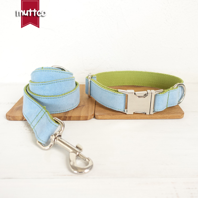 10pcs/lot MUTTCO wholesale self-designed accessory BLUE COVER GREEN handmade wathet blue and green dog collar and leash 5 sizes