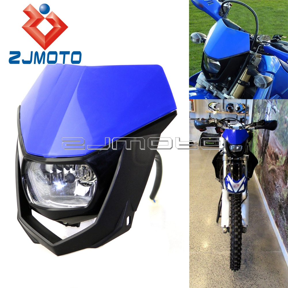 ZJMOTO H4 35W Headlight Fairing Blue Off Road Motorcycle Headlight Enduro Headlamp Streetfighter For Yamaha YZ YZF WR WRF DT XT