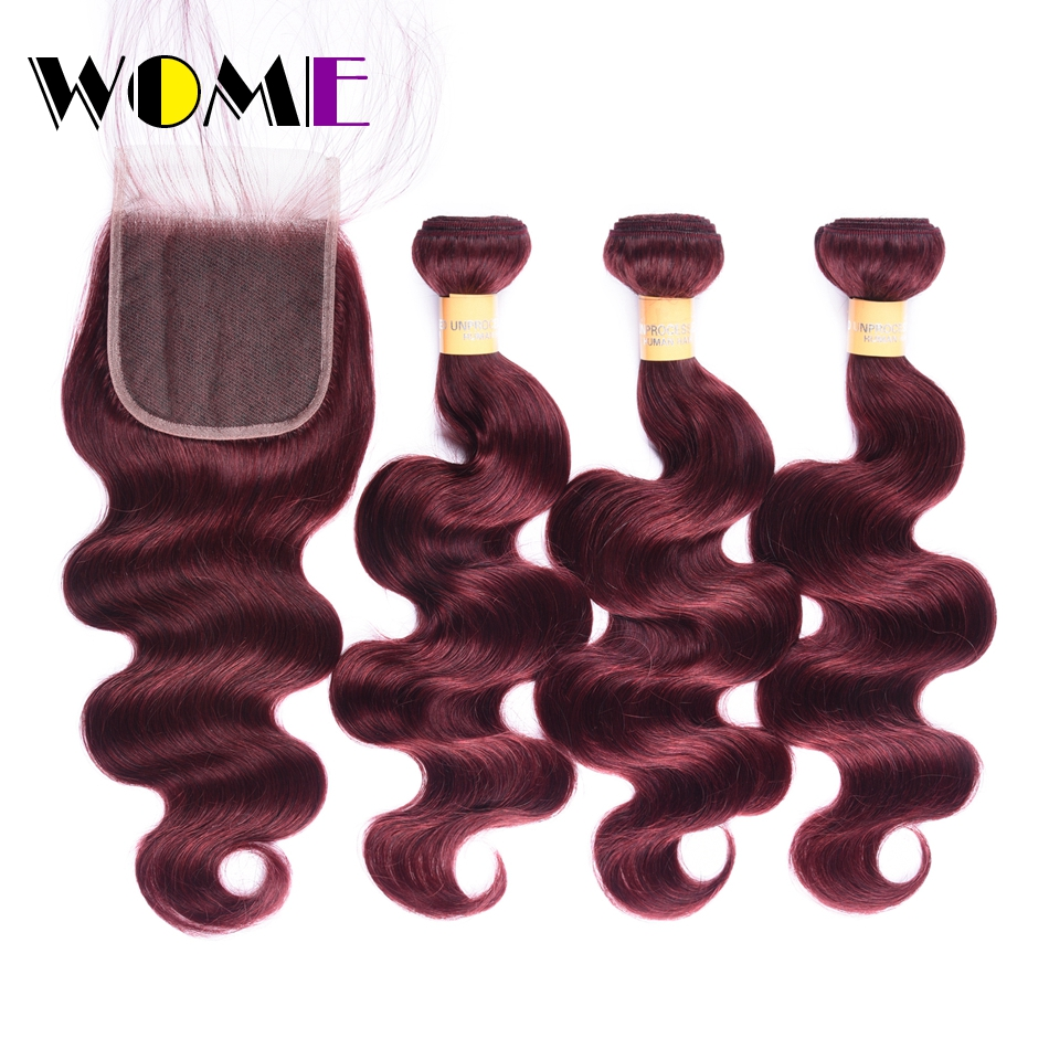 Wome Pre-colored Raw Brazilian Hair Body Wave Bundles With Closure 99J Red Burgundy 3Pcs Non Remy Human Hair Weave With Closure