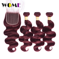 Wome Pre colored Raw Brazilian Hair Body Wave Bundles With Closure 99J Red Burgundy 3Pcs Non remy Human Hair Weave With Closure