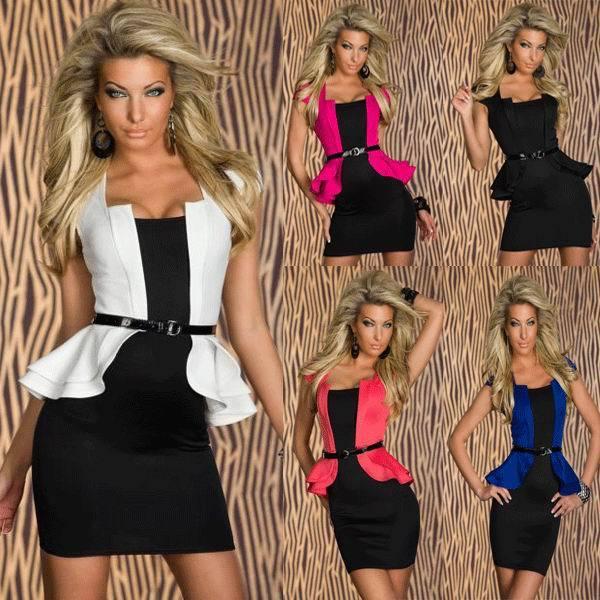 Freies verschiffen für mode design kleid Schwarz Weiß Rosa Blau ...