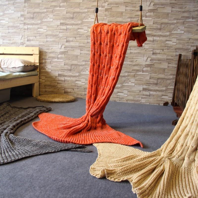 160x60cm New Handmade Children Adults Knitted Mermaid Tail Blanket Soft Sofa Mermaid Sleeping Bag Camping Throw Bed Sofa Blanket