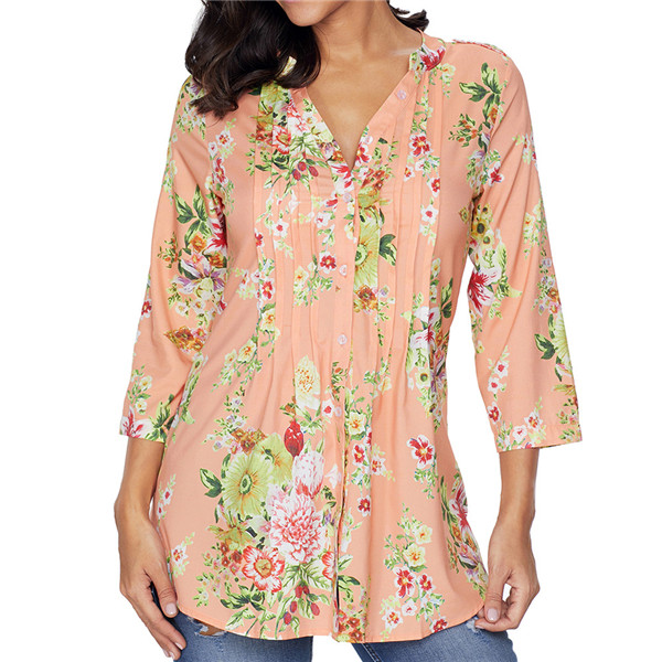 0a852e4c416 Plus Size 6XL Vintage Floral Print V-neck Tunic Tops Spring Summer Women s  Blouses 3 colors Half Sleeve Clothes Ropa Mujer