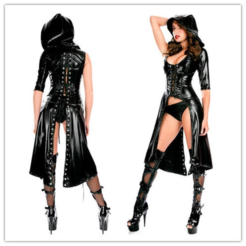 New Leather Pencil Dress Sexy Black Pvc Leather Gothic Midi Dress Lace-up Bondage Tight Catsuit Fetish Latex Clubwear Costume Women's Clothing