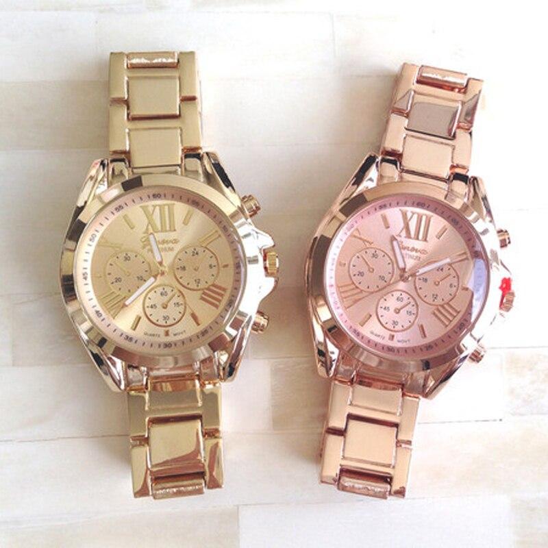 oversize metal wristwatches hot selling geneva quartz watch casual watches for men or women