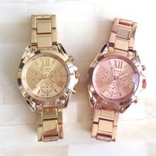 Nueva llegada de la venta caliente de ginebra de cuarzo reloj casual relojes de pulsera de metal de gran tamaño para los hombres o las mujeres