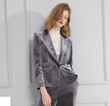 Great quality Suit Female 2017 font b Women s b font fashion slim Gold Velvet Suit