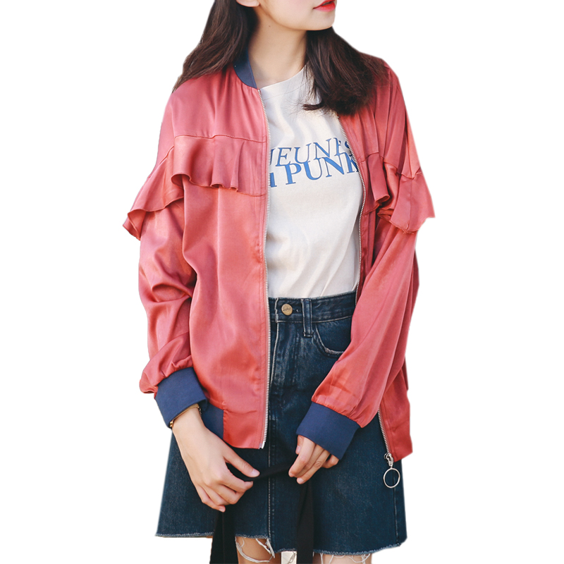 Harajuku Ruffles   Jacket   Woman Fashion Baseball   Basic     Jackets   Coats 2018 Autumn Winter Streetwear Casual Outerwear Famale   Jacket