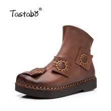 Tastabo на осень-зиму женские ботильоны ручной работы плоская подошва Сапоги и ботинки Обувь кожаная Ретро Сапоги и ботинки зимние Botines Mujer женские