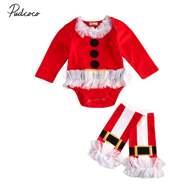 5ad1123c1c21 2pcs Toddler Baby Girls Boys Christmas Long Sleeve Lace Patchwork Tops  Romper Leg Warmers XMAS Outfits
