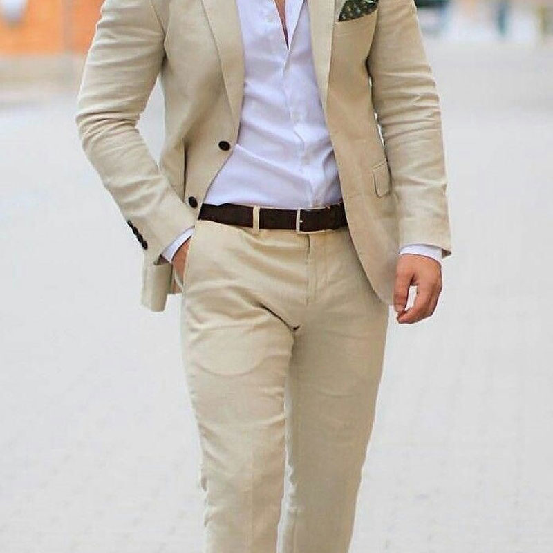 Champagne Beige Linen Beach Wedding Suits With Pants Groom Wedding Tuxedos Man Blazers Costume Homme Terno Masculino 2 Piece