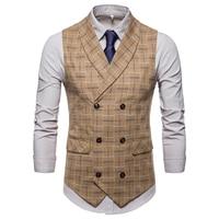 2018 Suit Vest Men Jacket Sleeveless Vintage Tweed Vest Fashion Spring Autumn Plus Size Waistcoat Plaid Vest