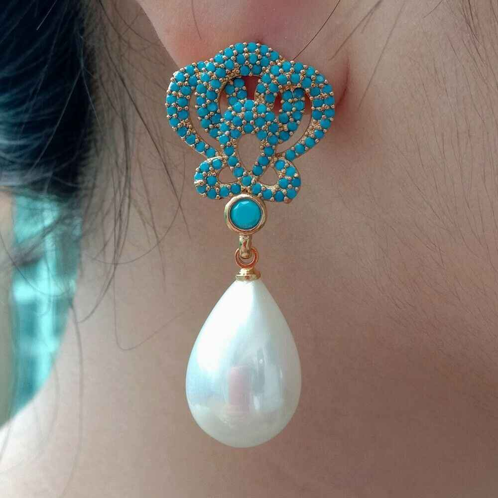 Teardrop White Sea Shell Pearl Golden Plated Turquoie สีฟ้า Cz Drop ต่างหู