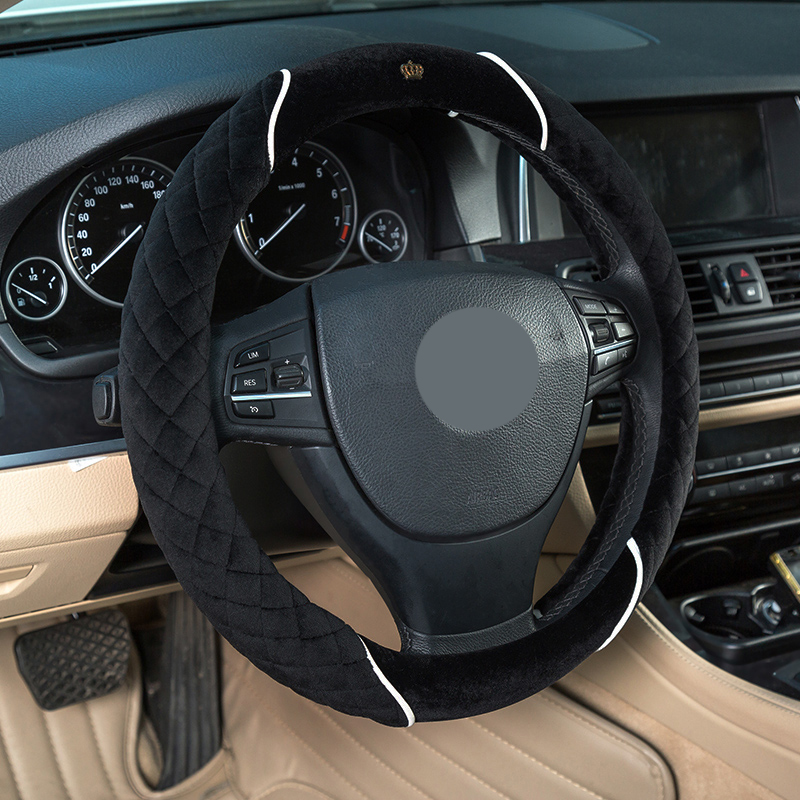 PIGONGZI Winter 38cm Premium Soft Short Fur Car Steering Wheel Cover High-density Warm Plush Steering Wheel Protector Cover