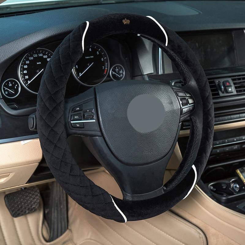 PIGONGZI Winter 38cm Premium Soft Short Fur Car Steering Wheel Cover High-density Warm P ...