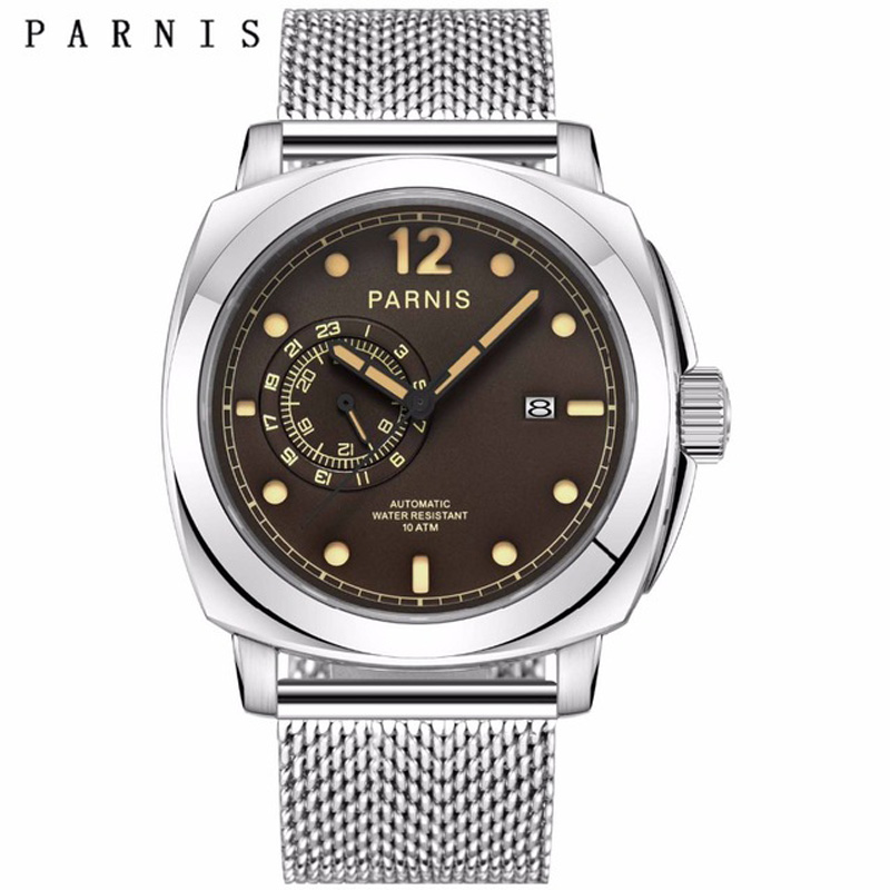 2017 New Arrival Mens Watches Top Brand Luxury 44mm Parnis Mechanical Watches Luminous 100M Waterproof Watch