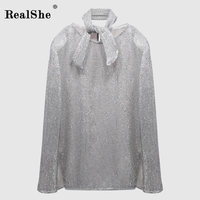 RealShe T Shirt Women 2018 Spring Female Sequined Top Femme Long Sleeve Bow Neck Casual T