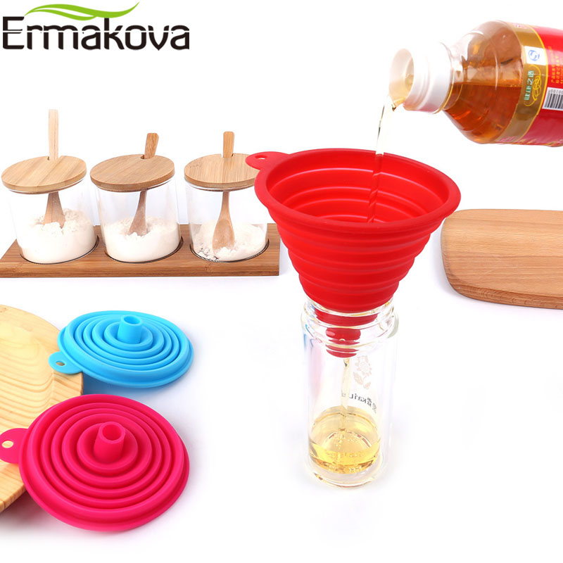 ERMAKOVA 100% Food Grade Silicone Collapsible Funnel Flexible Foldable Kitchen Funnel for Liquid Transfer FDA Approved|Funnels| |  - title=