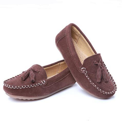 2016 Fashion Vintage Cowhide Children Shoes Genuine Leather Loafers Autumn Casual Boys Tassel Breathable Flats Kids Moccasins 04