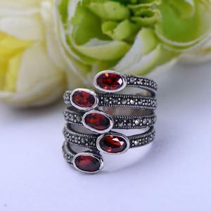 Image 2 - GQTORCH Natürliche Edelstein Breite Ringe Für Frauen Rot Granat Stein Echt Reine 925 Sterling Silber Schmuck Markasit Multi Schicht Ring
